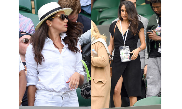 04f382fc ... a chic black wrap dress with a high slit and letting her wavy brunette  hair hang loose. Meghan wore two very different outfits for Wimbledon in  2016.