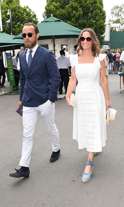 It was a siblings day out at Wimbledon for Pippa and James Middleton! The two looked summer ready for the tennis championships. The mother to be – who is six months pregnant – donned a dainty eyelet lace dress, with a flattering empire waist to show off her growing baby bump. She styled the look with a pair of sunglasses, baby blue laced wedges and a small clutch.