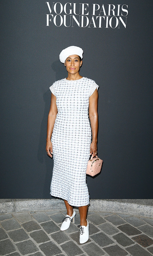 Tracee Ellis Ross donned a jaunty beret as  she attended the Vogue Paris Foundation fete.