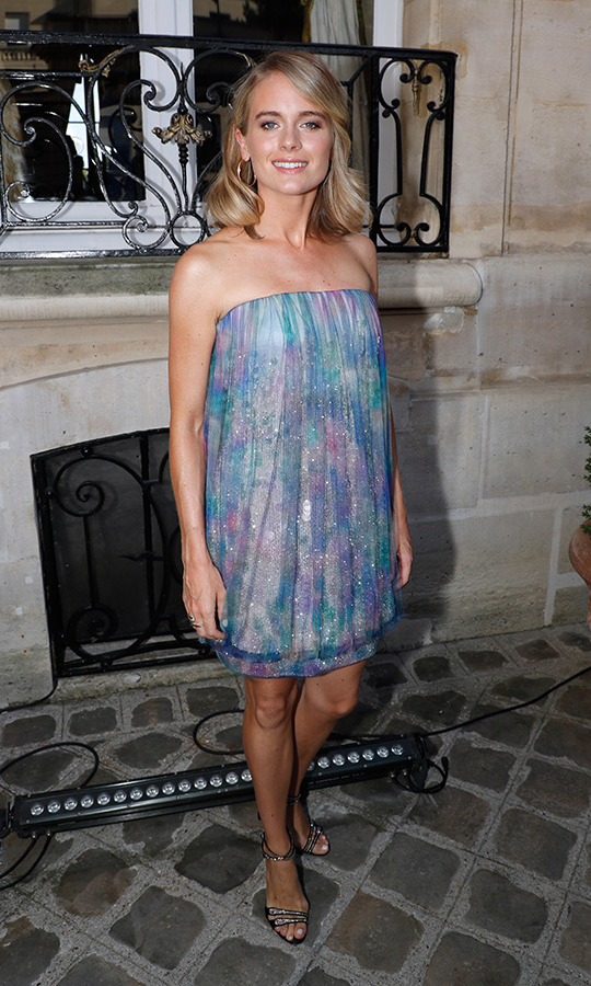 Cressida Bonas made her first appearance since ex Prince Harry's royal wedding at the Giorgio Armani Prive haute couture show on July 3.