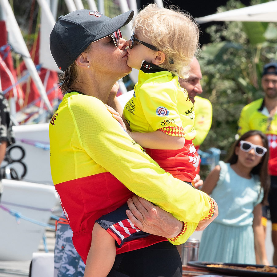 Princess Charlene of Monaco and her son Prince Jacques shared a sweet smooch during the Riviera Water Bike Challenge in 2018. 