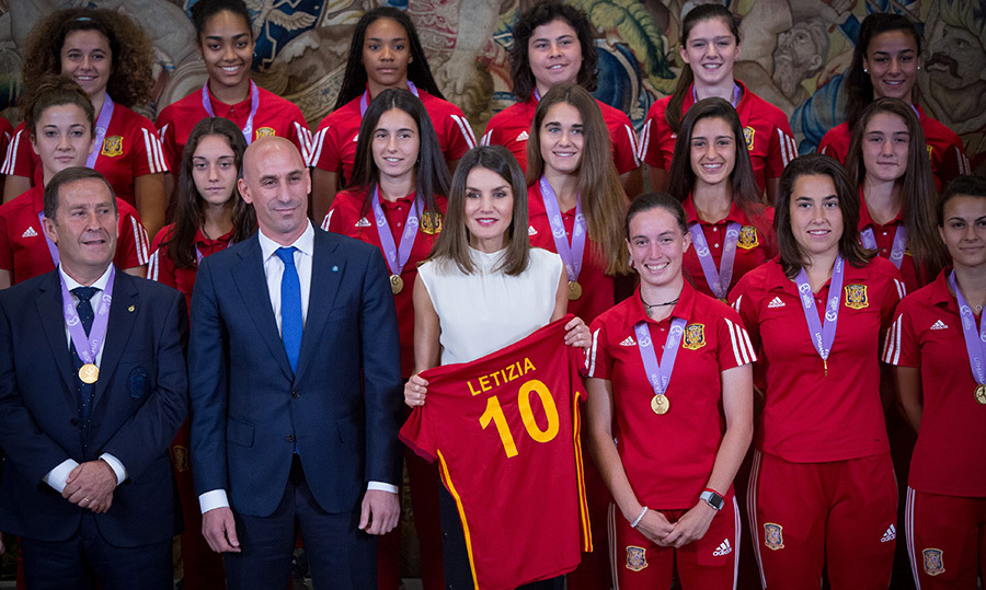 Queen Letizia can consider herself an honorary team member! On July 5, the royal received an official jersey from the Spanish U-17 women's soccer team at Zarzuela Palace.