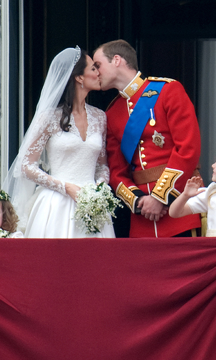 It was a moment when the world stood still! Prince William and Kate shared their first kiss as a married couple on the balcony Buckingham Palace in 2011 following their nuptials at Westminster Abbey.