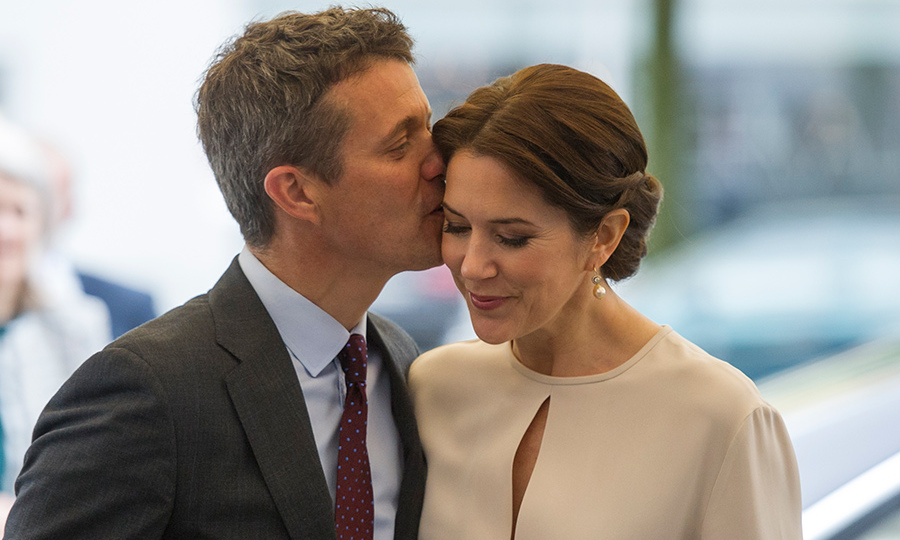 Crown Prince Frederik kissed his wife Crown Princess Mary Of Denmark in Germany a few years back as they arrived at a furniture shop in Munich. 