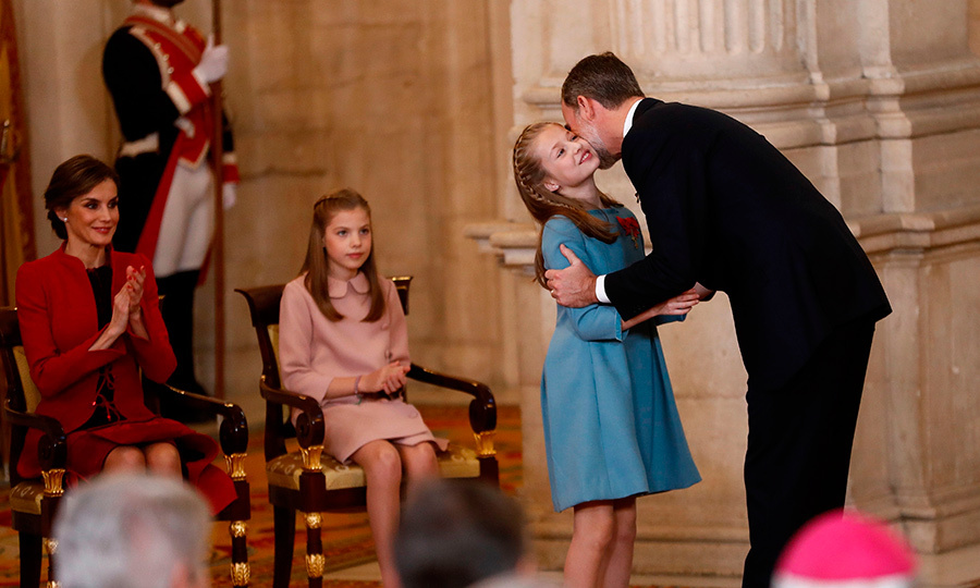 Spain's King Felipe was brimming with pride as he gave his daughter Princess Leonor a congratulatory kiss after granting her Spain's most prestigious award, the Order of the Golden Fleece, at the Royal Palace in Madrid in 2018.