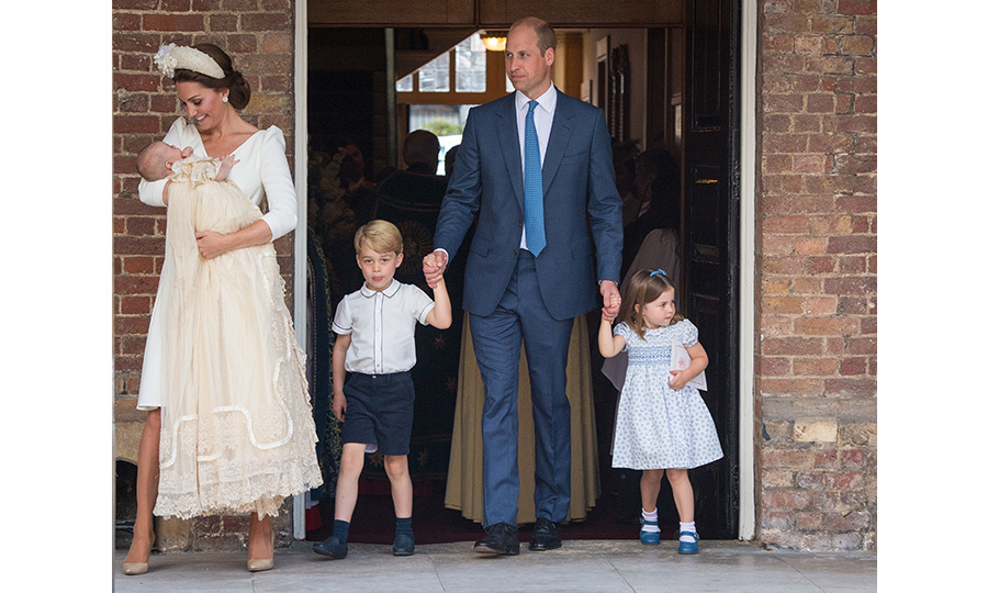 For Prince Louis' christening, the Cambridges stepped out for the first time as a family of five decked out in their finest blue and white ensembles. Prince William wore a navy suit with a blue tie, which perfectly matched Princess Charlotte's sweet Mary Jane shoes and bow headband. The three-year-old wore a blue and white dress that matched her big brother Prince George's white shirt with blue piping, which he paired with navy shorts, socks and shoes. Kate and baby Louis were picture perfect in cream dresses.