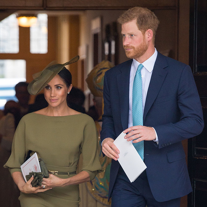 Meghan stepped out for her first royal christening as the Duchess of Sussex on July 9, 2018, dressing head to toe in olive green – including a beautiful saucer-style fascinator by her go-to milliner, Stephen Jones. The hat, tilted perfectly on the side of her head, called to mind the Philip Treacy creation she wore for Trooping the Colour in 2018.