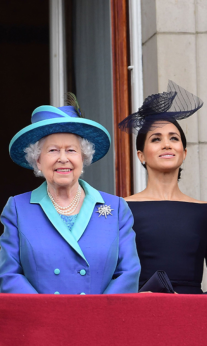 The Queen and Meghan, who are quickly becoming companions, stood side by side on the balcony during the flypast. The pair have now attended a number of events together as well as embarking on their first solo joint engagements in Cheshire this past June.