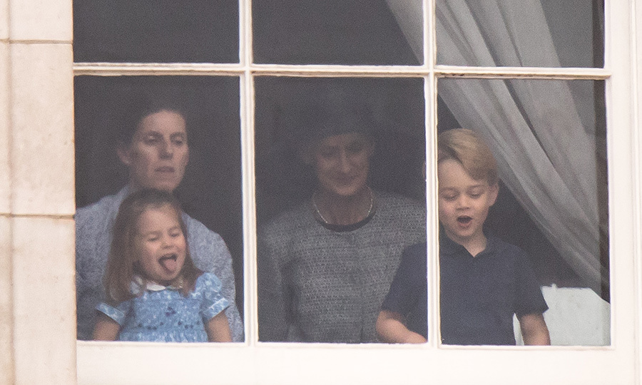 Cheeky Princess Charlotte stuck out her tongue as she watched the flypast alongside brother Prince George, 4, with their nanny Maria Teresa Turrion Borrallo.