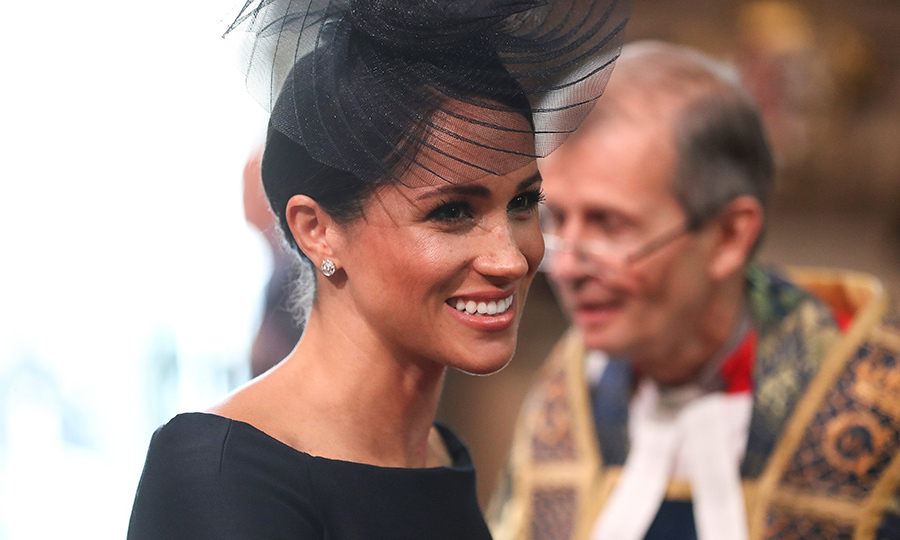 Meghan turned once again to milliner Stephen Jones for a scene-stealing headpiece to go with her black ensemble. 