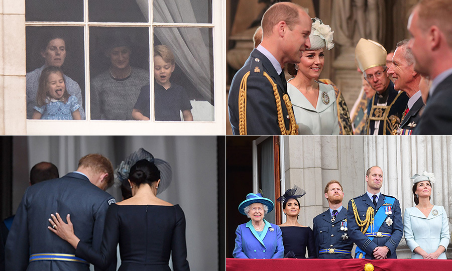 The Royal Family gathered for the second time this week to celebrate the 100th anniversary of the Royal Air Force on Tuesday (July 10) - just one day after Prince Louis' christening. While the Queen had missed her great-grandson's baptism due to travel, she was out in fine form to celebrate the RAF centenary with a service and a flypast. <p>Prince William and Kate arrived at Westminster Abbey in style alongside Prince Harry and Meghan, who fly to Ireland later today to kick off a two-day visit - their first overseas! Prince Charles and Camilla, Prince Edward and Sophie and more took to the balcony at Buckingham Palace following the ceremony as Prince George and Princess Charlotte looked on from inside - the cheeky little girl sticking her tongue out once again.</p>