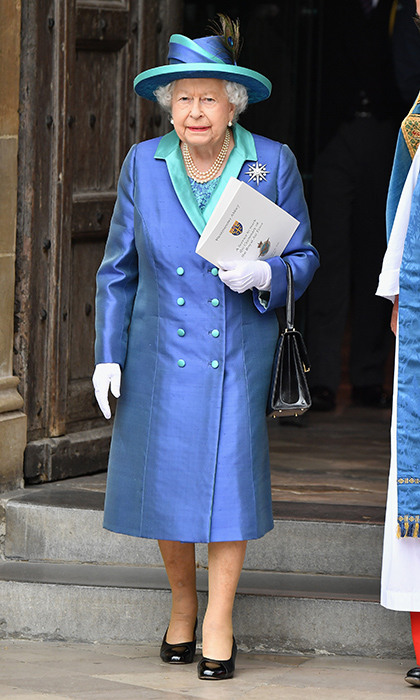 The Queen attended the RAF centenary solo, as 97-year-old Prince Philip has retired from official duties. The 92-year-old looked beautiful in blue for the milestone anniversary.