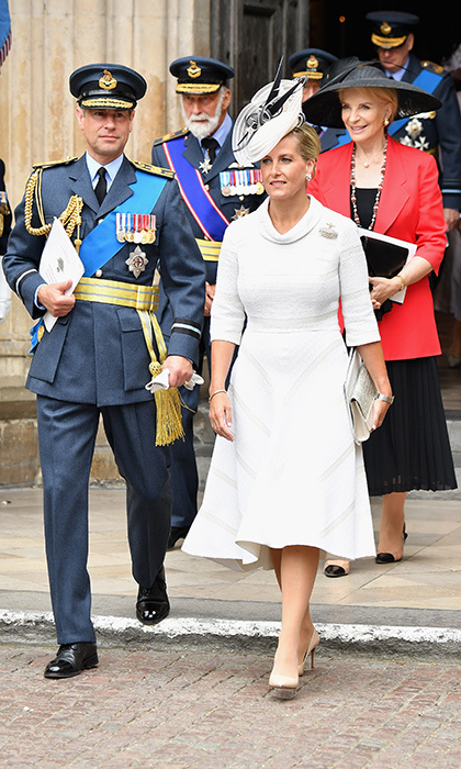 Stylish Sophie Wessex turned to a closet staple - this beautiful white dress by Suzannah, which she's worn twice before. The Duchess of Wessex, who attended with her uniform-clad husband Prince Edward, finished the look with nude pumps, a silver clutch and a black-and-white fascinator.