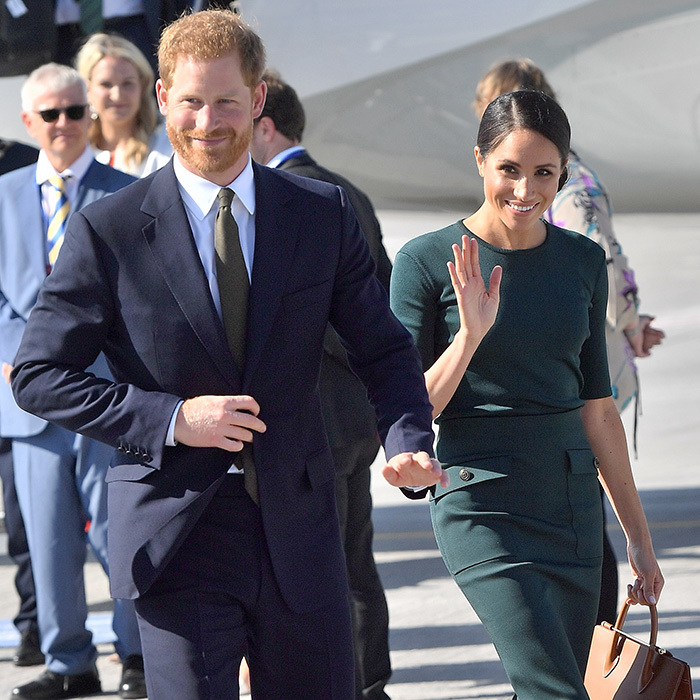 The gorgeous couple were beaming as they walked the tarmac after touching down in the Emerald Isle.