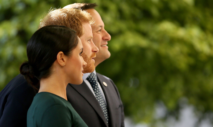 First stop: a visit to government buildings! Prince Harry and Meghan visited with Irish Politician Taoiseach, Minister for Defence and Leader of Fine Gael, Leo Varadkar on a beautiful walk in Dublin to start off their two-day tour.