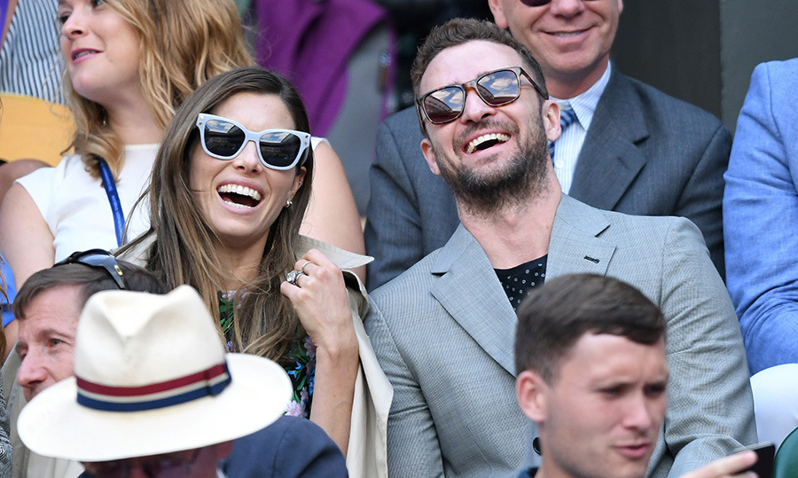 Lovebirds Jessica Biel and Justin Timberlake were having a ball in the Wimbledon stands on July 10.