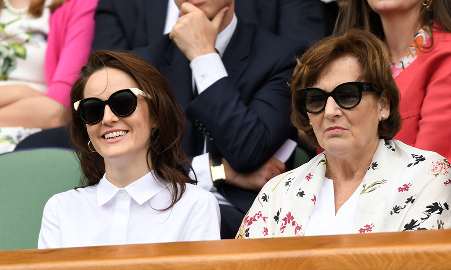 <em>Downton Abbey</em> star Michelle Dockery and her mom, Lorraine, sat together to enjoy day eight of the championships.