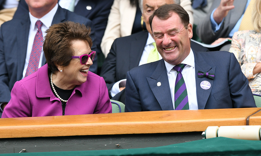 Billie Jean King and Wimbledon Chairman Philip Brook shared a laugh in the stands.