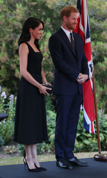 Aside from her stunning dress, Meghan recycled a beautiful pair of shoes – the Aquazzura Deneuve Bow pump – that she wore to the Queen's Young Leaders ceremony.