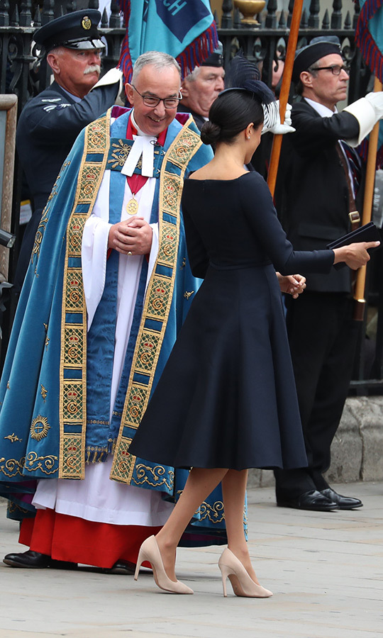 The Archbishop of  Canterbury, Justin Welby, greeted Meghan as she arrived at Westminster Abbey. The two also saw each other the previous day at Prince Louis' christening.