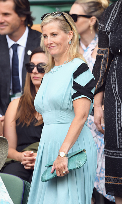 Sophie, Countess of Wessex, watched the action from the royal box. The Queen's daughter-in-law looked glamorous as ever in a teal Emilia Wickstead dress with black details on the sleeves, which she just wore at Royal Ascot last month. 