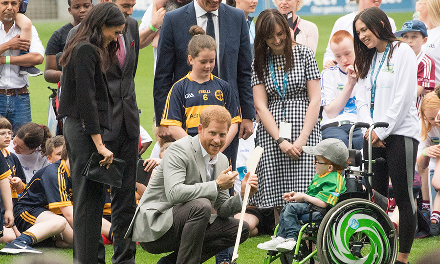 The duke and duchess spent some time chatting with a boy at Croke Park.