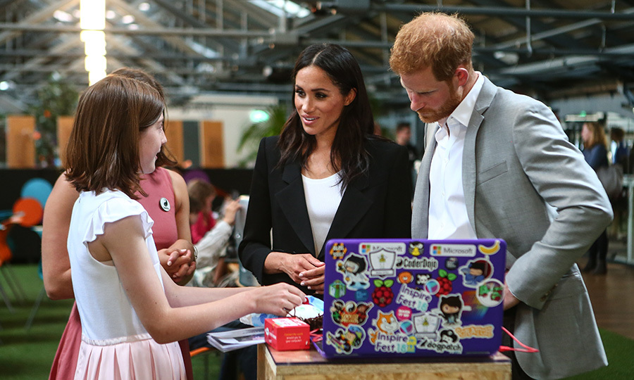 "Meghan and Harry chatted with a youngster during their visit to the Dogpatch startup hub in Dublin. Dogpatch's goal is ""to accelerate the development of Ireland's startup ecosystem by providing a valuable community from where you can grow, share knowledge and form connections,"" according to their website.