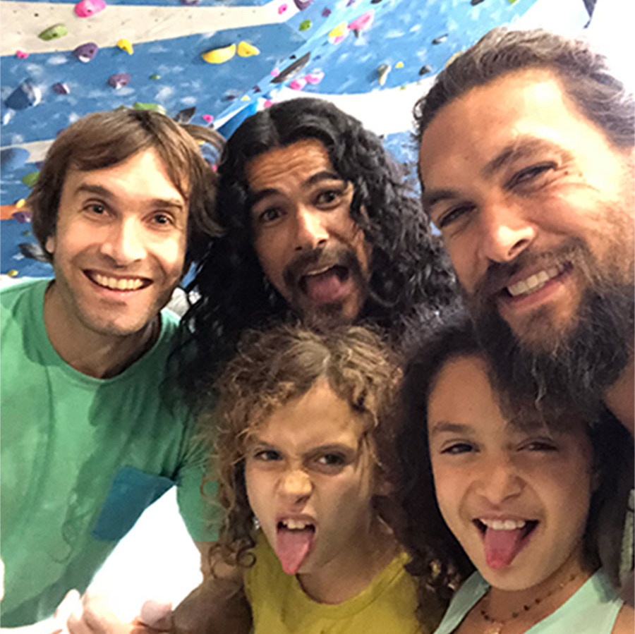 A fun-filled day learning new rock climbing tricks with his little ones!
