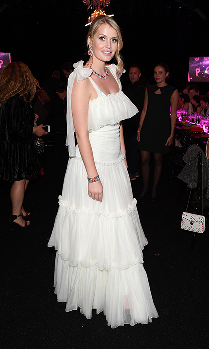 For a BVLGARI party in Rome, the brand's striking ambassador looked remarkable in a white ruffled gown in June 2018.