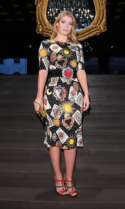 "The fashionista was radiant and confident in this printed Dolce & Gabbana dress at the ""Secrets & Diamonds"" show in Milan on February 25, 2018