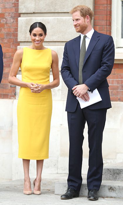 Meghan turned to Brandon Maxwell for a sunny look that broke from a string of blush and cream outfits she'd been wearing of late. She paired the upbeat ensemble with simple nude heels and a centre-parted bun for a Commonwealth Youth event in London on July 5.