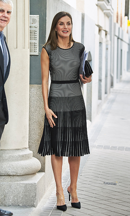 Queen Letizia dazzled in Madrid on July 13! The star wore this black-and-white ribbed dress for the first time, pairing the chic dress with Steve Madden 'Plaza' mules that she's wore a number of times before.