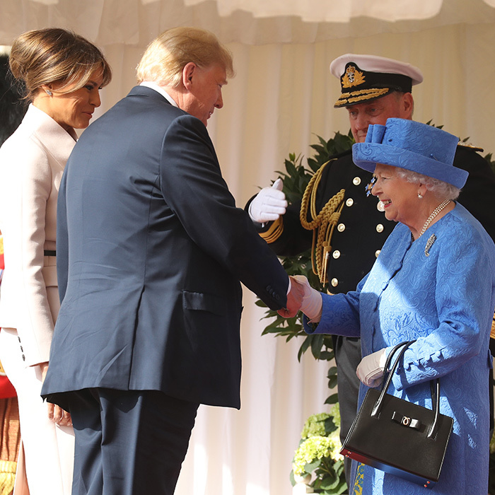 Queen Elizabeth II met with President Donald Trump and First Lady, Melania Trump at Windsor Castle on July 13. Her Majesty welcomed the duo at the dais in the Quadrangle of the Castle. A Guard of Honour, formed of the Coldstream Guards, gave a Royal Salute and the US National Anthem was played.