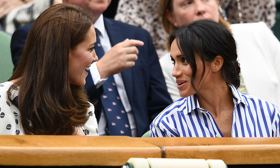 The sisters-in-law looked like fast friends as they chatted and smiled during the match. Meghan brought back her messy bun look for the occasion, while Kate wore her signature Chelsea blowout.