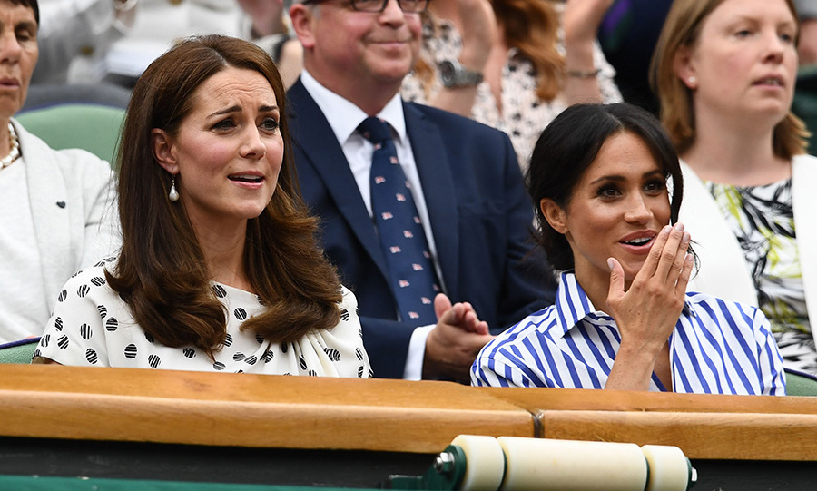 Kate has attended Wimbledon for years and is patron of the All England Lawn Tennis and Croquet Club. She's become famous for her animated reactions to the matches. The Duchess of Sussex proved a quick study during the men's singles final, though her expressions were still more demure.