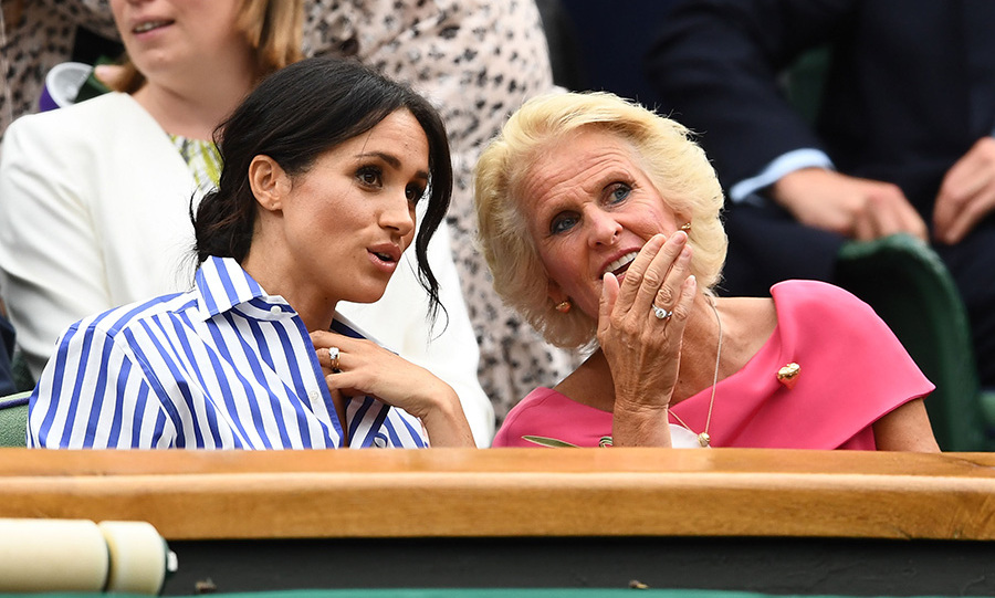 Meghan chatted with Gill Brook, the wife of Wimbledon chairman Phillip Brook, during the match. The duchesses and Gill walked into the stands together.