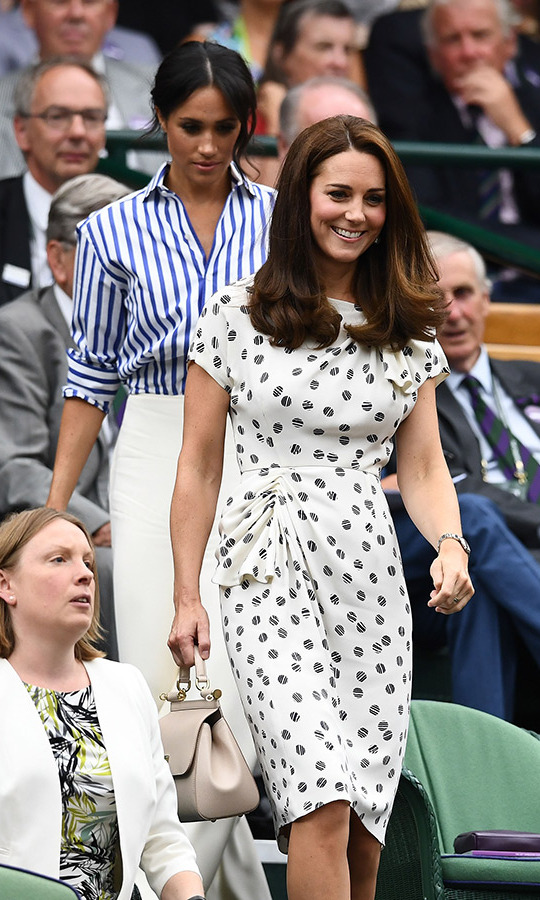 Kate looked radiant in a polka-dot Jenny Packham dress with a Dolce & Gabbana handbag. The duchess spent the day with her sister-in-law Meghan, watching the men's and women's finals on day twelve of the tournament.