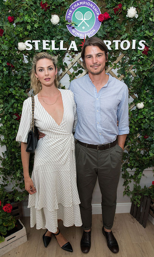 Tamsin Egerton and Josh Hartnett stopped by the Stella Artois space at Wimbledon on July 14.
