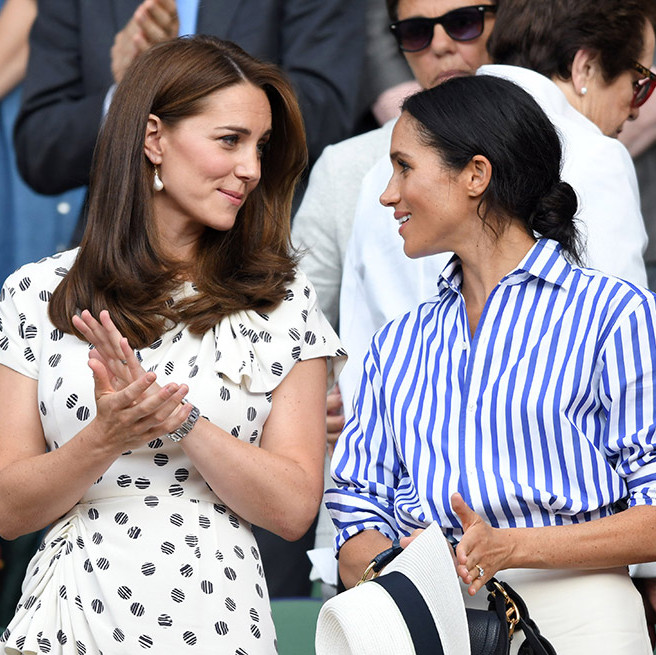Kate and Meghan shared a sweet moment during the match. 