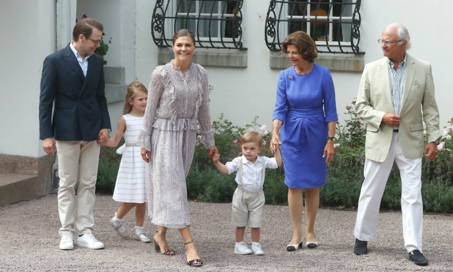 Crown Princess Victoria turned 41 on July 14 and marked the occasion with a fun public celebration! Her picture-perfect family - husband Prince Daniel, six-year-old Princess Estelle and Prince Oscar, 2 - was dressed to impress at Solliden Palace as they greeted fans and posed for photos. The Duchess of Västergötland's parents, Queen Silvia and King Carl XVI Gustaf, were also on-hand and looking wonderful at the festivities. 