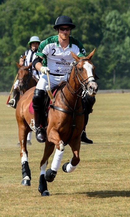 While his wife Meghan was at Wimbledon with Duchess Kate on July 14, Prince Harry participated in the Xerjoff Royal Charity Polo Cup 2018 in Newbury, England. 