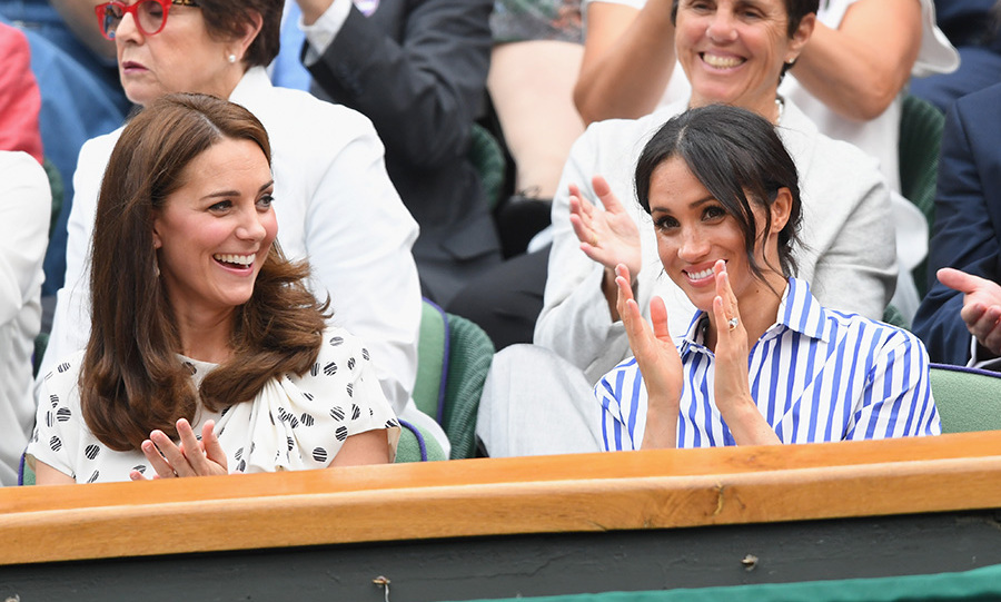 Despite Serena Williams' loss, Kate and Meghan had the best of times. Of particular note were their beautiful outfits, with the Duchess of Sussex looking cool in a nautical-themed Ralph Lauren ensemble while Kate stunned in polka dot Jenny Packham.