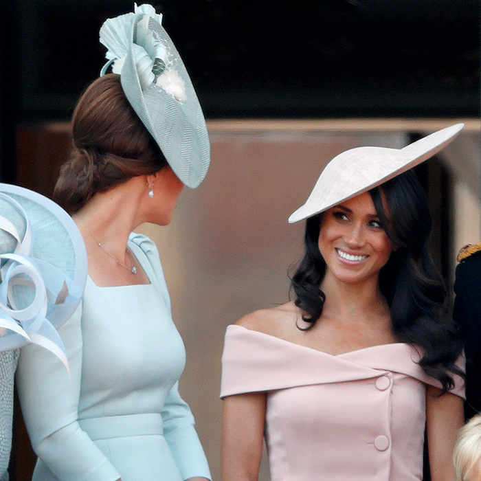 Another first for Meghan was that very event in 2018, when the two duchesses - each clad in a beautiful pastel ensemble - shared a friendly moment on the Buckingham Palace balcony during the flypast.