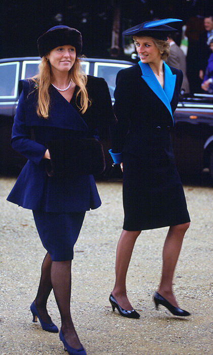 Princess Diana and Sarah wore equally striking outfits for Christmas at Sandringham on Dec. 25, 1988.
