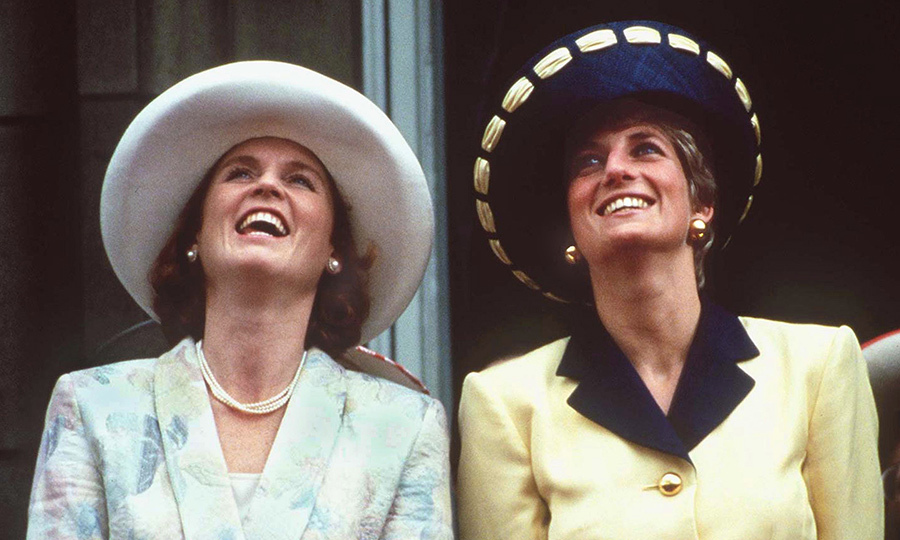 The Princess of Wales and the Duchess of York were dressed to impress on the balcony of Buckingham Palace during the Trooping the Colour ceremony in June 1991. The princess donned a Catherine Walker suit and Philip Somerville hat. 