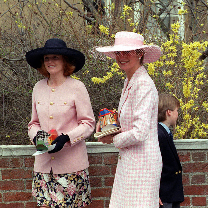Easter is for pastels! In 1991, the royal women stepped out for an Easter service at Windsor Castle, perfectly paired in pale pink ensembles. A young Prince William stood behind the duo.