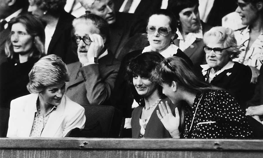 The royal friends also attended the tennis championship in 1988, where Diana wore a relaxed cream suit while the Duchess of York opted for a polka-dot blouse (with a side of gab).