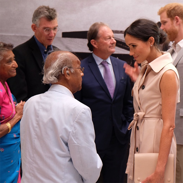 Inside the exhibit, Meghan and Harry met with Paul and Adelaide Joseph, Anti-Apartheid activists and close friends of Nelson Mandela and Winnie Mandela, inside the exhibit.
