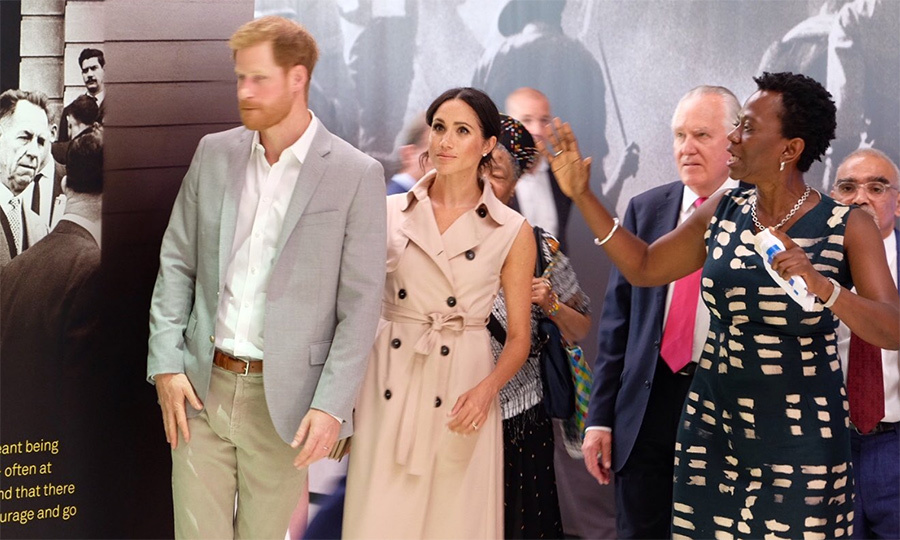 The couple took time to view some of the items in the exhibit, including the Robben Island Bible, which was actually a copy of Shakespeare plays disguised as a Bible. 