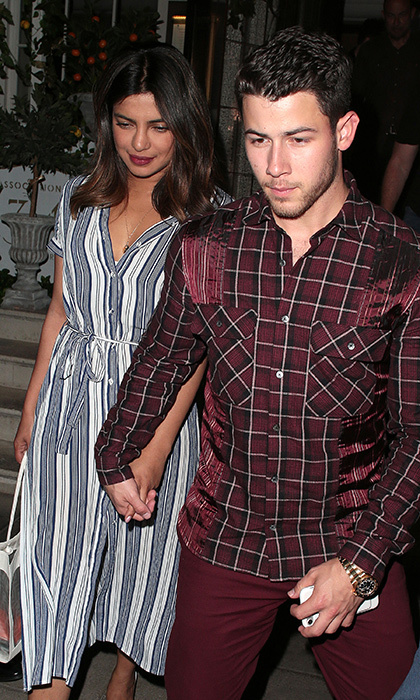 Date nights are the best nights, especially when they're in London! Lovebirds Priyanka and Nick enjoyed some grub at the city's well-known 34 restaurant in Mayfair on July 16. The actress stunned in a striped shirt dress, while her beau looked handsome as ever in maroon.